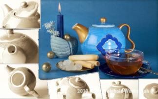 Fotografie Teekomposition blaue Kanne mit Kerze © 2010 Ilona Weinhold-Wackernah