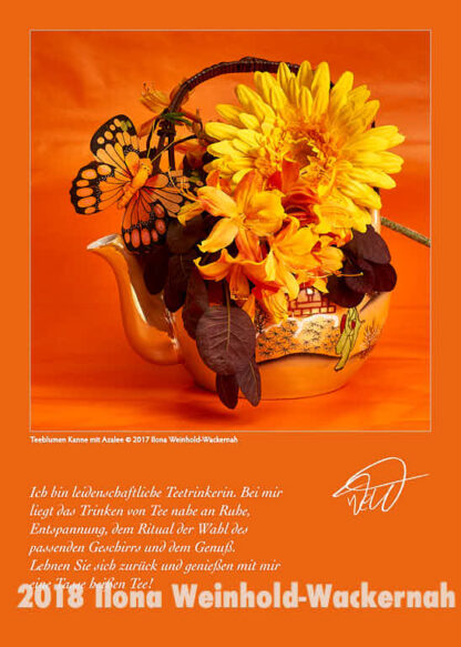 Postkarte Kunst Teeblumen Kanne mit Azalee © 2017 Ilona Weinhold-Wackernah