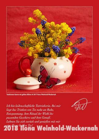 Postkarte Kunst Teeblumen Kanne mit gelben Blüten © 2017 Ilona Weinhold-Wackernah