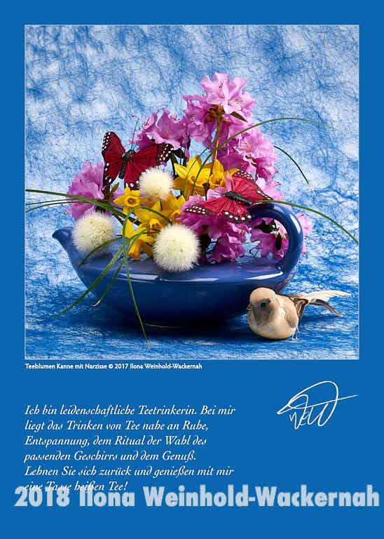 Postkarte Kunst Teeblumen Kanne mit Narzisse © 2017 Ilona Weinhold-Wackernah