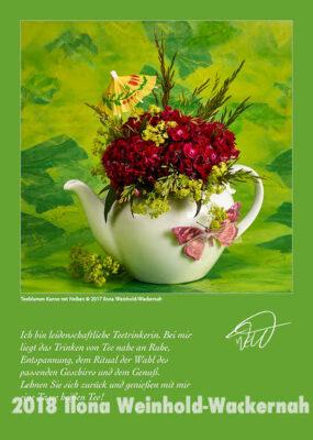 Postkarte Kunst Teeblumen Kanne mit Nelken © 2017 Ilona Weinhold-Wackernah