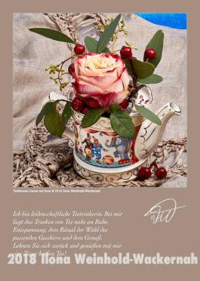 Postkarte Kunst Teeblumen Kanne mit Rose © 2017 Ilona Weinhold-Wackernah