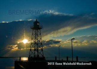 Postkarte Bremerhaven Grüner Leuchtturm Geestemole © 2015 Ilona Weinhold-Wackernah