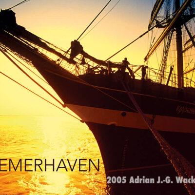Postkarte Bremerhaven Viermastbark Kruzenshtern im Abendlicht © 2005 Adrian Wackernah