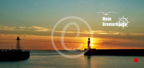 Fotokarte Bremerhaven Sonnenuntergang an der Geestemole