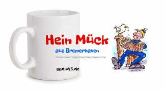 Produktbild Fototasse »Hein Mück aus Bremerhaven 2« – Karikatur von Heinz Glaasker © 2021 links