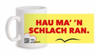 Produktbild Fototasse Bremerhavenschnack »Hau ma' 'n Schlach ran.« © 2021