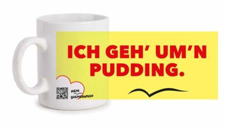 Produktbild Fototasse Bremerhavenschnack »Ich geh' um'n Pudding« © 2021