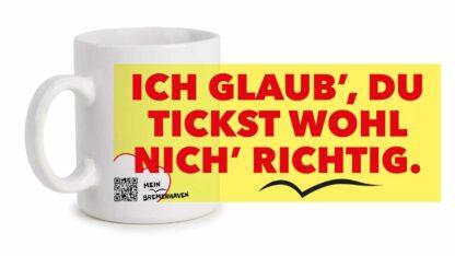 Produktbild Fototasse Bremerhavenschnack »Ich glaub' du tickst wohl nich' richtig« © 2021