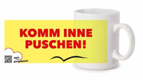 Produktbild Fototasse Bremerhavenschnack »Komm inne Puschen!« © 2021